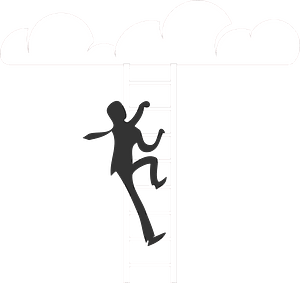 Businessman climbing to clouds clipart