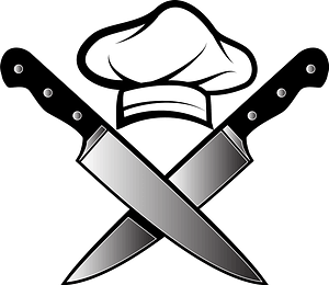 Chef hat and knives clipart