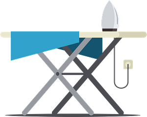Clothes on ironing board clipart