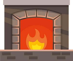 Fireplace burning clipart