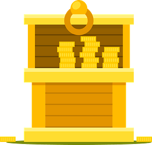 Gold coins chest clipart