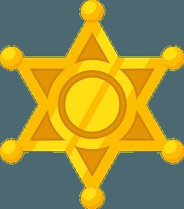 Golden sheriff badge clipart