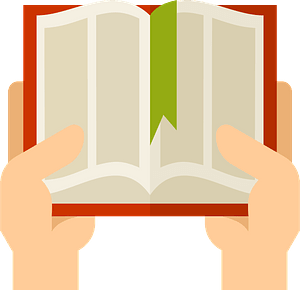 Hands holding book clipart