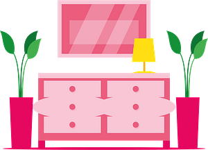 Nightstand with mirror clipart