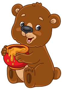 Cartoon bear with honey pot clipart
