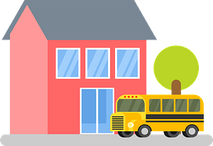 School building and bus clipart