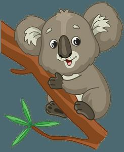 Koala hugging a branch clipart