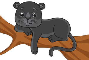 Black panther on a tree clipart