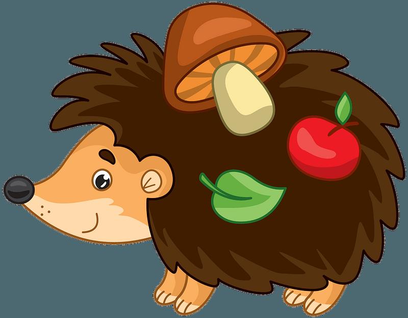 Jeż z jabłkiem, grzybami i liściem clipart. Darmowe pobieranie. | Creazilla