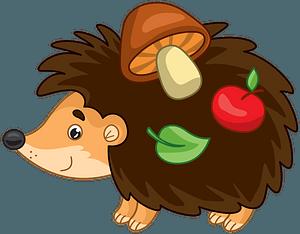 Hedgehog with apple, mushroom and leaf clipart