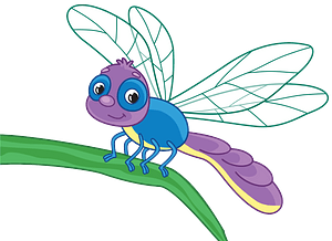 Dragonfly on a leaf clipart