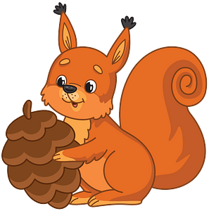 Squirrel with pine cone clipart