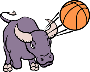 Bull playing basketball clipart