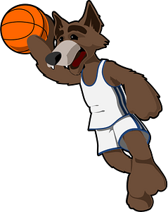 Wolf playing basketball clipart