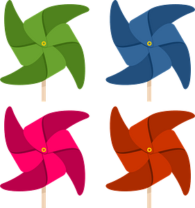 Summer windmills clipart