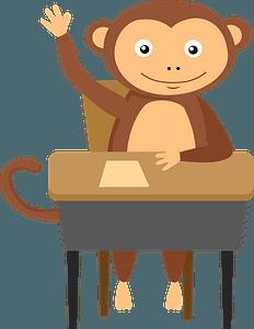 Monkey at school clipart