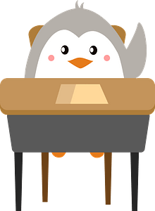 Penguin at school clipart