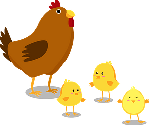 Chick and chickens clipart