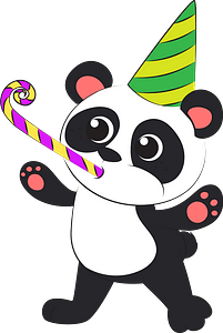 Panda's birthday clipart
