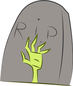 Gravestone and zombie hand clipart