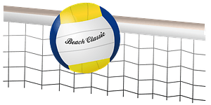 Volleyball ball and net clipart