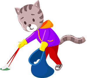 Cat cleanup the garbage clipart