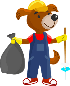 Dog cleanup the garbage clipart