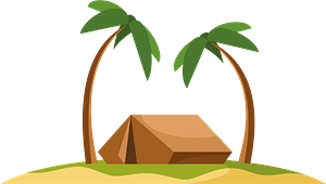 Tent on island clipart