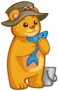Bear Holding Fish clipart