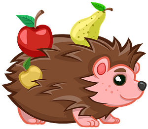 Hedgehog With Fruits clipart