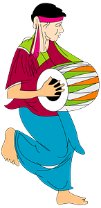 Man playing the drums clipart