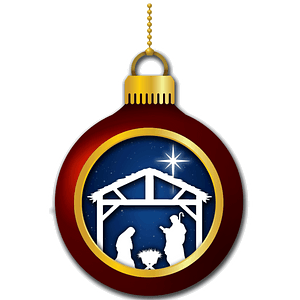 Christmas ornament with Nativity scene clipart