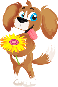 Dog with a flower clipart