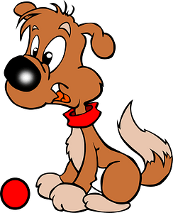 Puppy with a ball clipart