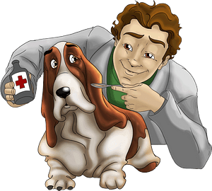 Basset and Veterinarian clipart