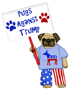 Pug protesting clipart