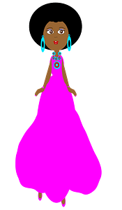 Girl in a pink dress clipart
