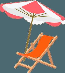 Beach chair and umbrella clipart