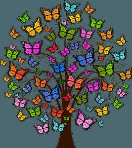 Butterflies tree clipart
