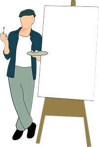 Artist with an easel clipart