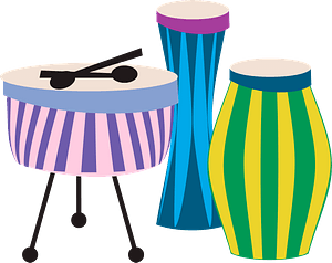 Colourful drums clipart