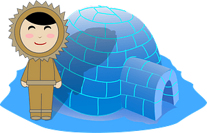Inuit Girl and Igloo clipart