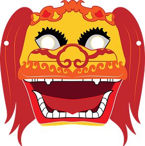 Chinese lion dance mask clipart