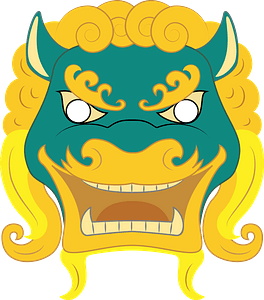 Chinese lion mask clipart