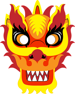 Chinese new year dragon mask clipart