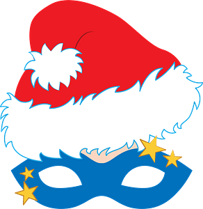 Christmas masquerade mask clipart