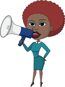 Business woman with megaphone clipart