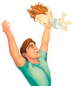 Father with a baby clipart