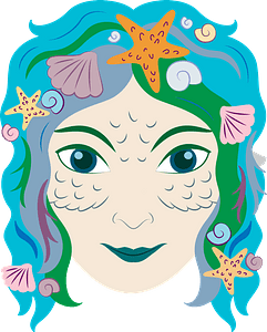 Mermaid face clipart