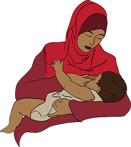 Arab woman with her baby clipart